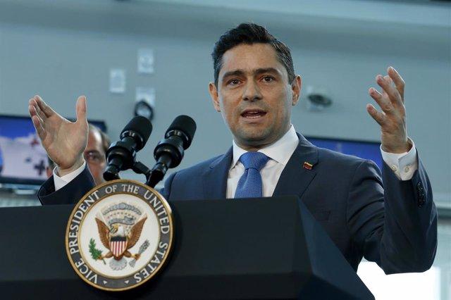 Carlos Vecchio en una intervención frente al Gobierno de Estados Unidos.