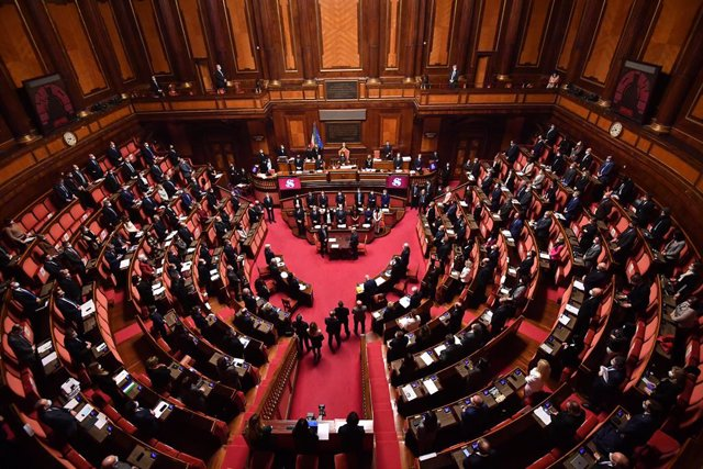19 January 2021, Italy, Rome: A general view of the Senate during the speech of Italian Prime Minister Giuseppe Conte ahead of a vote of confidence following a breakdown of government alliances, after the Italia Viva party of former prime minister Matteo