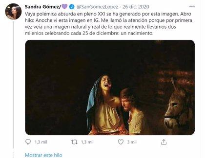 """La polémica por la Virgen publicada por Sandra Gómez llega a Fiscalía, que no ve delito: """"No provoca odio a católicos"""""""