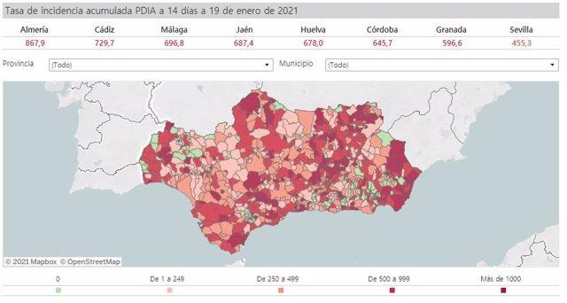 Mapa de incidencia del Covid-19 en Andalucía por municipios a 19 de enero de 2021