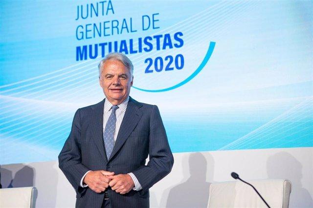 El presidente de Mutua Madrileña, Ignacio Garralda, en la junta general de mutualistas de 2020.