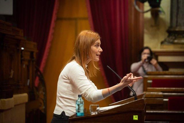 La presidenta dels comuns al Parlament, Jéssica Albiach, durant la seva intervenció en la Diputació Permanent del Parlament. Barcelona, Catalunya, (Espanya), 13 de gener del 2021.