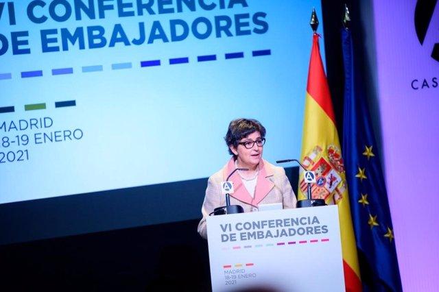 La ministra de Asuntos Exteriores, Arancha González Laya, durante la inauguración de la Conferencia de Embajadores
