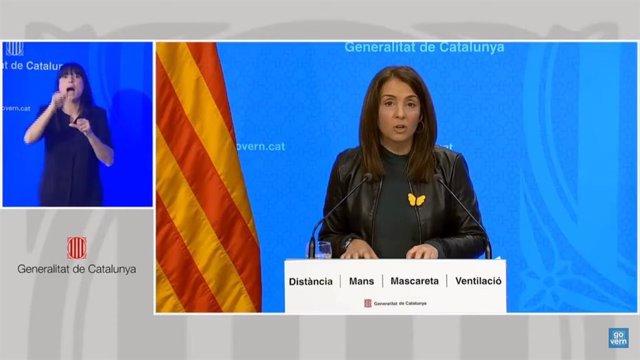 La consellera de Presidència i portaveu del Govern, Meritxell Budó, en una conferèncis de premsa telemàtica.