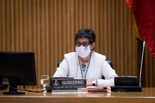La ministra de Asuntos Exteriores, UE y Cooperación, Arancha González Laya, comparece en la Comisión Mixta Congreso-Senado para la UE