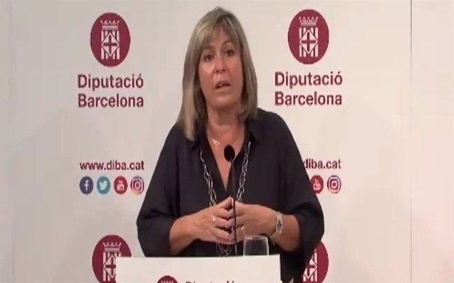 La presidenta de la Diputación de Barcelona, Núria Marín, en rueda de prensa el jueves 22 de octubre de 2020