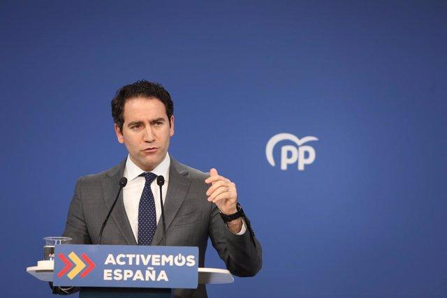 El secretario general del Partido Popular, Teodoro García Egea, ofrece una rueda de prensa en la sede nacional del partido tras el Comité de Dirección, en Madrid (España), a 19 de enero de 2021.