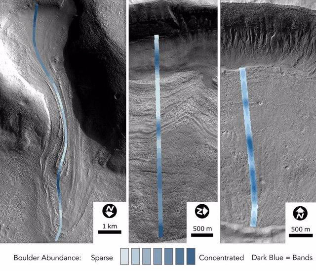 La imagen de un glaciar en Marte muestra la abundancia de rocas dentro del hielo.