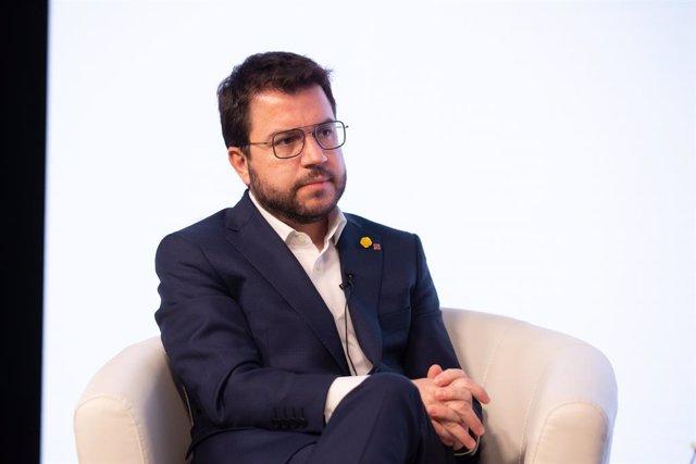 El vicepresident en funcions de president de la Generalitat i candidat d'ERC a la presidència de la Generalitat, Pere Aragonès, en una trobada digital d'Europa Press. Catalunya (Espanya), 18 de gener del 2021.