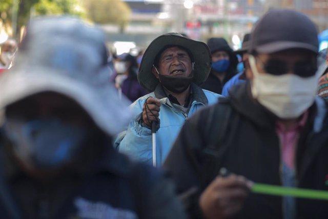 Protestas en La Paz (Bolivia) demandando ayudas económicas frente a la situación provocada por el coronavirus.