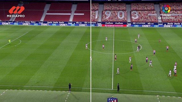 Imagen partida de una retransmisión de un partido del Atlético en el Wanda Metropolitano con y sin la grada virtual de LaLiga y MEDIAPRO