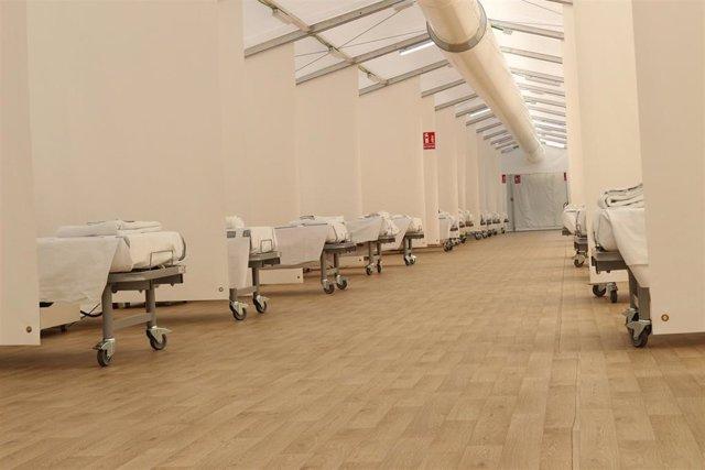 Camas habilitadas en uno de los tres hospitales de campaña