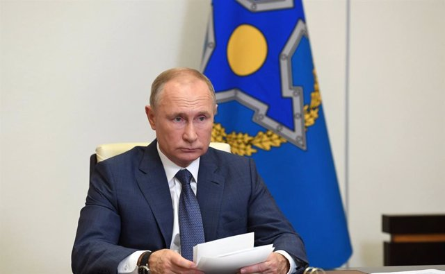 HANDOUT - 02 December 2020, Russia, Moscow: Vladimir Putin chairs a meeting via videoconference of the Collective Security Council of the Collective Security Treaty Organisation. Photo: -/Kremlin /dpa - ATTENTION: editorial use only and only if the credit