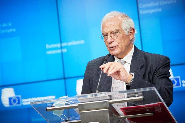 Josep Borrell en una comparecencia ante la prensa en Bruselas