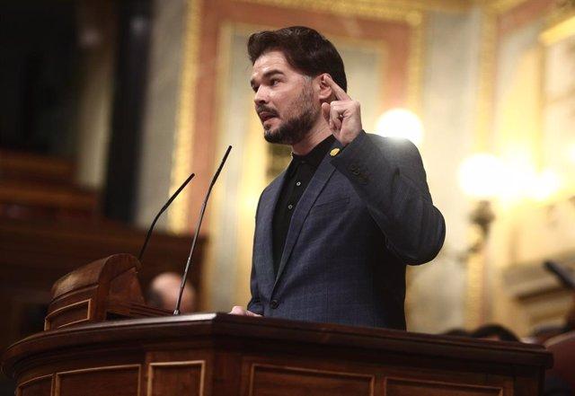 El portaveu d'ERC al Congrés,  Gabriel Rufián, intervé durant una sessió de control. Madrid (Espanya), 16 de desembre del 2020.