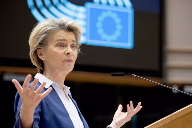 HANDOUT - 20 January 2021, Belgium, Brussels: President of the European Commission Ursula von der Leyen speaks during a plenary session of the European Parliament which focused on the inauguration of the new US President Joe Biden and the presentation of