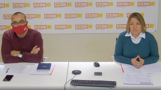 El secretari general de CCOO a Catalunya, Javier Pacheco, i la secretària d'acció sindical, Cristina Torre, durant la roda de premsa.