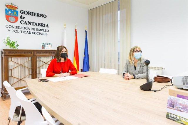 La consejera de Empleo y Políticas Sociales, Ana Belén Álvarez, acompañada de la directora general , Eugenia Gómez, inaugura por videoconferencia el ciclo sobre la Ley de Vivienda 'Retos de las Políticas Públicas de Vivienda'