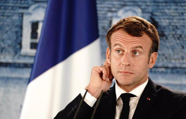 Emmanuel Macron en una rueda de prensa.