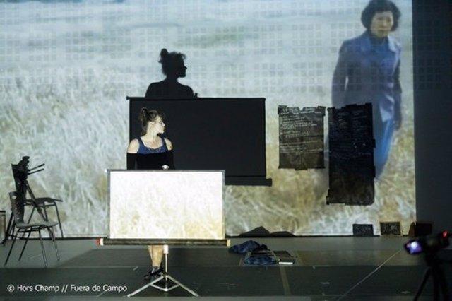 Imagen de la obra '2019. Esto no es mi cuerpo' de Olga Mesa en diálogo con Francisco Ruiz de Infante, con la intérprete Natacha Kouznetsova