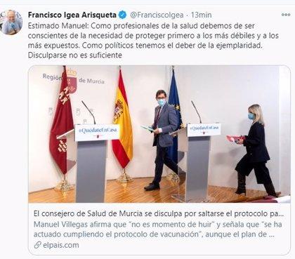 """Igea recuerda a Villegas el deber de """"ejemplaridad"""" de los políticos y cree que no """"es suficiente"""" con disculparse"""