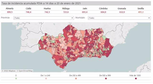 Mapa de incidencia del Covid-19 en Andalucía por municipios a 20 de enero de 2021