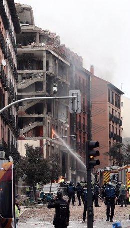 Explosió al carrer Toledo de Madrid, (Espanya), 20 de gener del 2021.