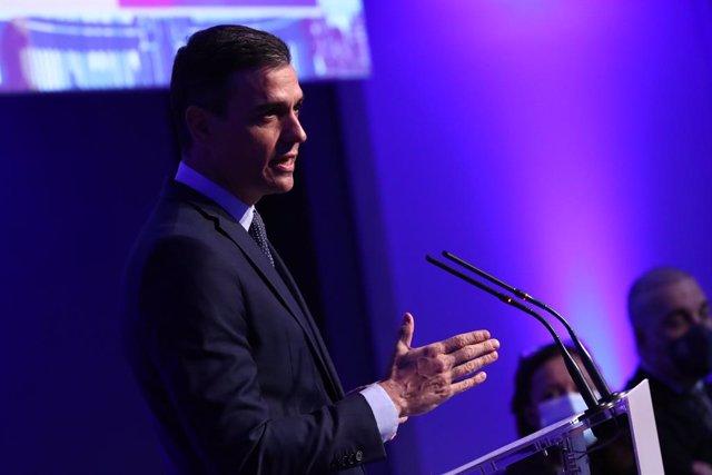 El presidente del Gobierno, Pedro Sánchez, participa en la 113ª Reunión del Consejo Ejecutivo de la Organización Mundial del Turismo (OMT), en Madrid, (España), a 19 de enero de 2021. El encuentro, que se celebra en Madrid, aborda, entre otros asuntos, la