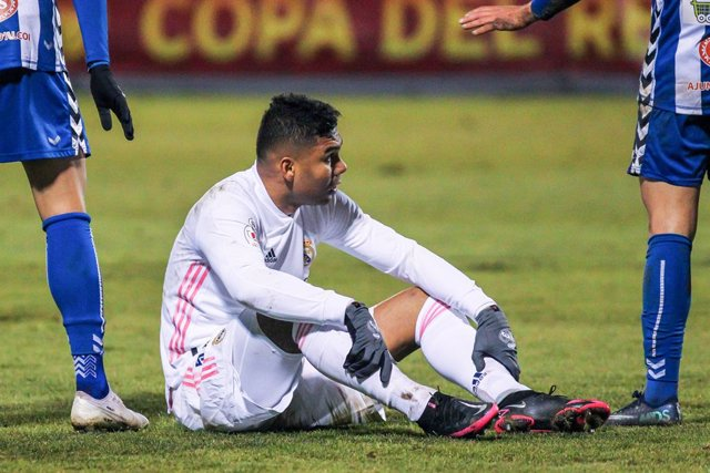 Carlos Henrique Casemiro of Real Madrid CF lamenting during the spanish cup, Copa del Rey football match played between CD Alcoyano and Real Madrid at El Collao stadium on January 20, 2021 in Alcoy, Alicante, Spain.