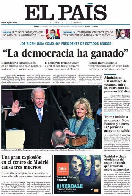 Las portadas de los periódicos del miércoles 20 de enero de 2021