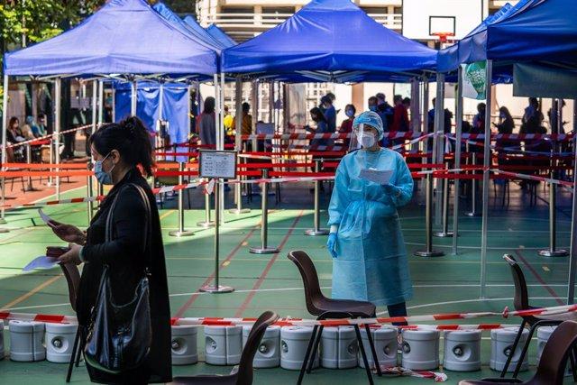 Instalaciones habilitadas para la realización de pruebas de coronavirus en Hong Kong.
