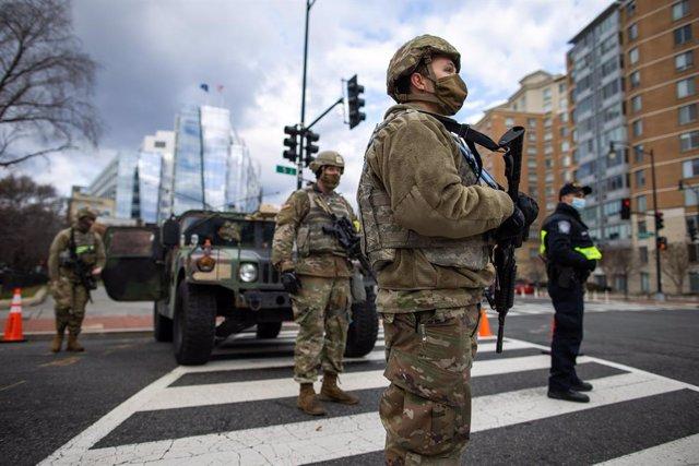 Miembros de la Guardia Nacional durante la toma de posesión de Joe Biden como presidente de EEUU