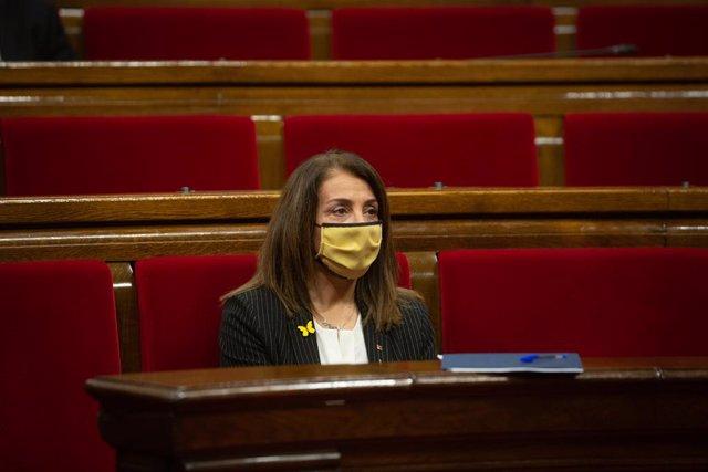 La consellera de Presidència i portaveu del Govern, Meritxell Budó, en la Diputació Permanent del Parlament. Catalunya (Espanya), 13 de gener del 2021.