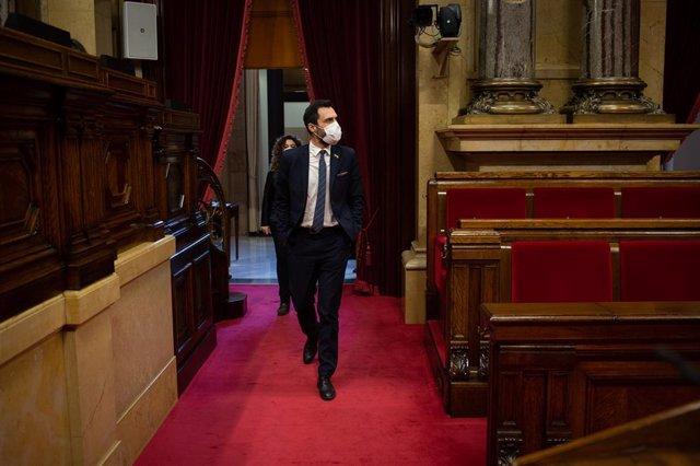 El president del Parlament, Roger Torrent en la Diputació Permanent. Catalunya (Espanya), 20 de gener del 2021.