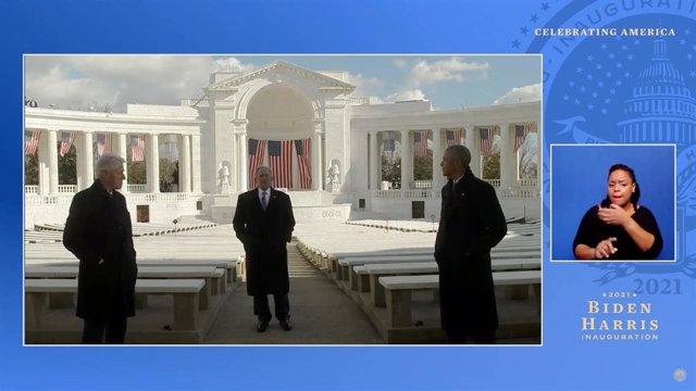Retransmisión del mensaje conjunto de Obama, Bush y Clinton en la toma de posesión de Biden.