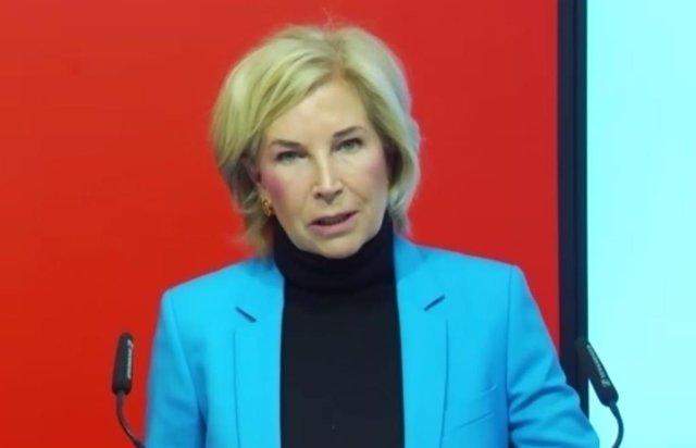 La consejera delegada de Bankinter, María Dolores Dancausa, en la presentación de resultados de 2020.