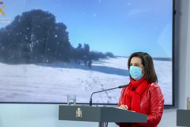 La ministra de Defensa, Margarita Robles, interviene durante una rueda de prensa en Madrid, (España), a 13 de enero de 2021. La convocatoria ha sido utilizada para analizar la situación del temporal en España y los efectos de la gran nevada provocada por