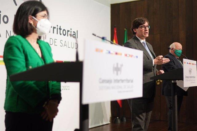 El ministre de Salut Salvador Illa , en la roda de premsa posterior a la reunió del Consell Interterritorial del SNS a Sevilla, 20 de gener del 2020
