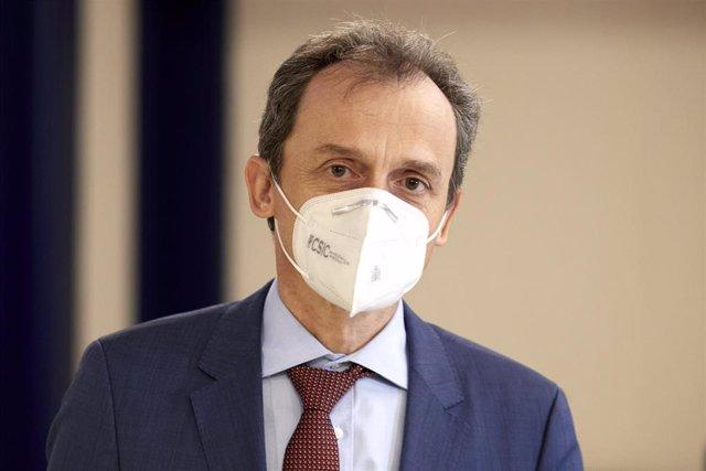 El ministro de Ciencia e Innovación, Pedro Duque, acude al Hotel Ercilla, para intervenir en la reunión de la Confederación Empresarial Vasca (Confebask), en Bilbao, Euskadi (España), a 21 de enero de 2021.