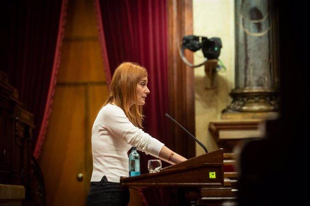 La presidenta dels comuns al Parlament, Jéssica Albiach, durant la seva intervenció en la Diputació Permanent del Parlament. Catalunya, (Espanya), 13 de gener del 2021.