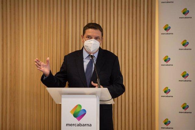El Ministro de Agricultura, Pesca y Alimentación, Luis Planas, durante su intervención en su visita al Biomarket de Mercabarna, en Barcelona, Catalunya (España), a 21 de enero de 2021. Tras su visita a este mercado mayorista, Planas abordará una reunión p