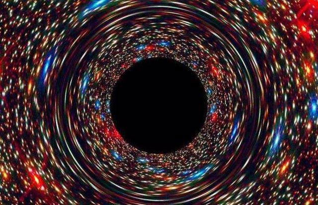Simulación de un agujero negro en el núcleo de una galaxia