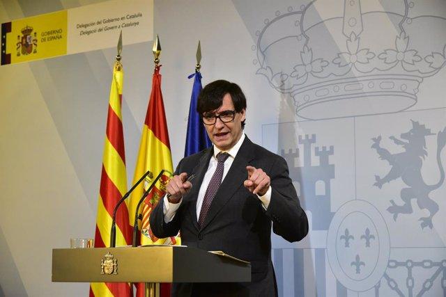 El ministre de Sanitat, Salvador Illa, intervé durant una compareixença per fer el seguiment de la pandemia per la covid-19, a Barcelona.