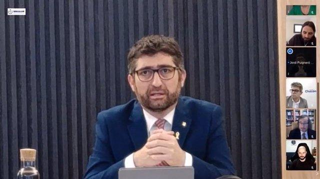 El conseller de Políticas Digitales y Administración Pública, Jordi Puigneró, en el debate de Telecos.Cat de cara a las elecciones