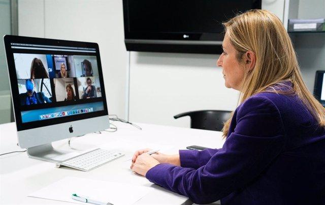 La vicesecretaria de Organización del PP, Ana Beltrán, mantiene una reunión con cargos del PP canario por vía telemática. En Madrid, a 21 de enero de 2021.