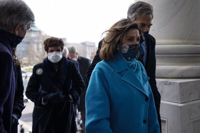 La presidenta de la Cámara de Representantes de Estados Unidos, Nancy Pelosi, durante la ceremonia de toma de posesión de Joe Biden.