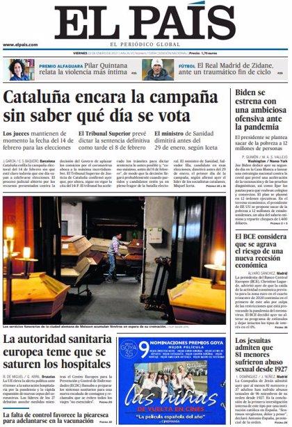 Las portadas de los periódicos del viernes 22 de enero de 2021