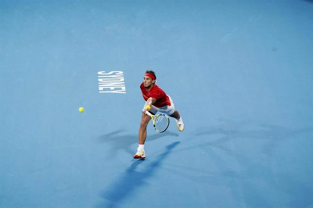 Rafael Nadal of Spain iin action in his finals match against Novak Djokovic of Serbia during day 10 of the ATP Cup tennis tournament at Ken Rosewall Arena in Sydney, Sunday, January 12, 2020. (AAP Image/Mark Evans) NO ARCHIVING, EDITORIAL USE ONLY