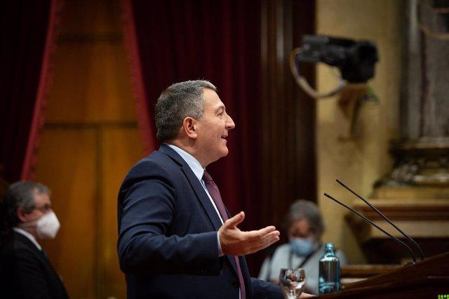 El conseller d'Interior de la Generalitat, Miquel Sàmper, en la Diputació Permanent del Parlament. Catalunya (Espanya), 20 de gener del 2021.