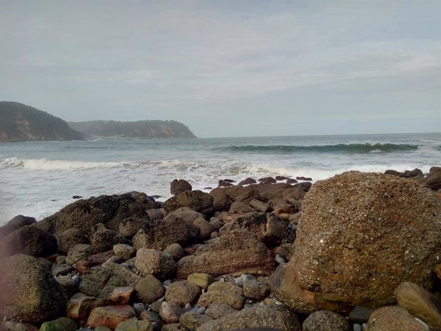 Imagen de una playa con oleaje fuerte y viento.